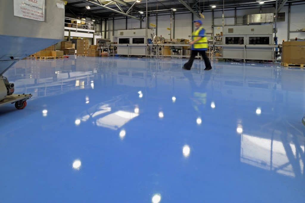 blue factory Resin Floor